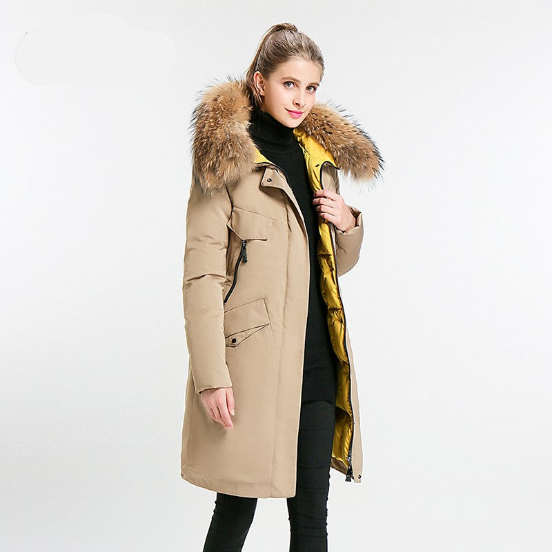 Charlotte Mid Long Stand Collar Winter Jacket Woven Trends