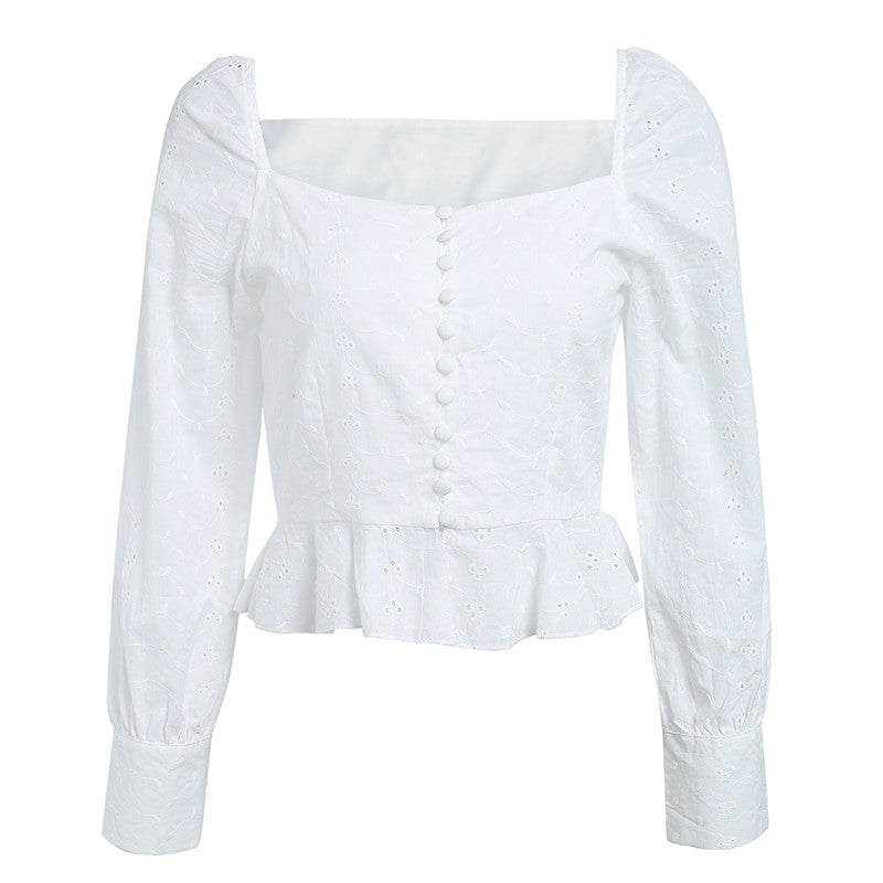 Angelica Embroidery White Blouse Top - woven-trends
