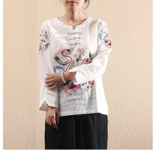 Megan Vintage Embroidery Blouse