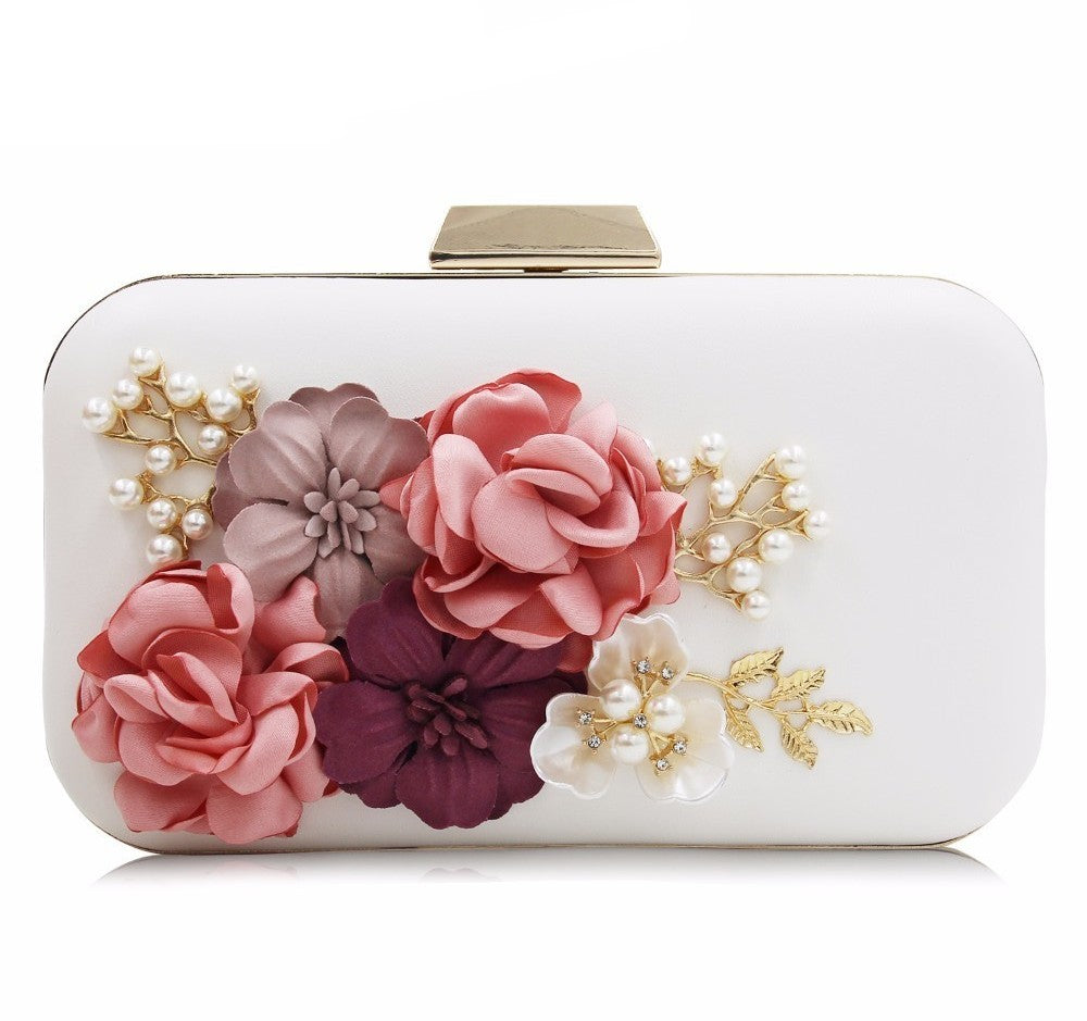 Jemina Pearl Detail Floral Wedding Clutch Purse