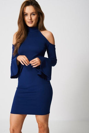 Bell Sleeve Trim Dress Cold Shoulder Bodycon Dress Woven Trends