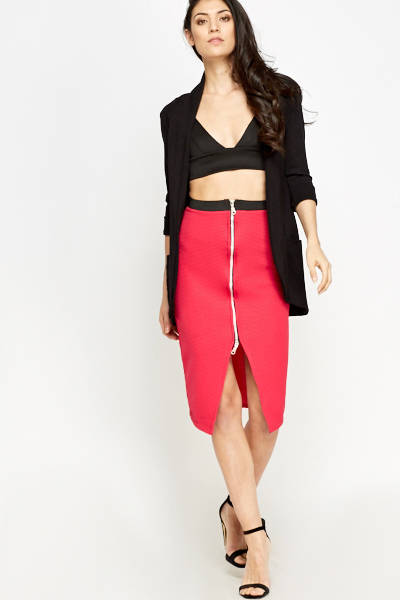Hot Pink Fuchsia Zip Front Skirt - Bodycon Styled Skirt in Pink - Woven Trends