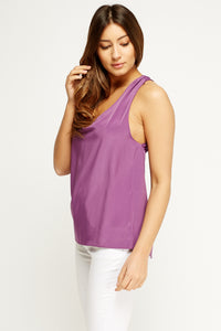 Helena Cross Back Detailed Satin Feel Blouse Top-Woven Trends