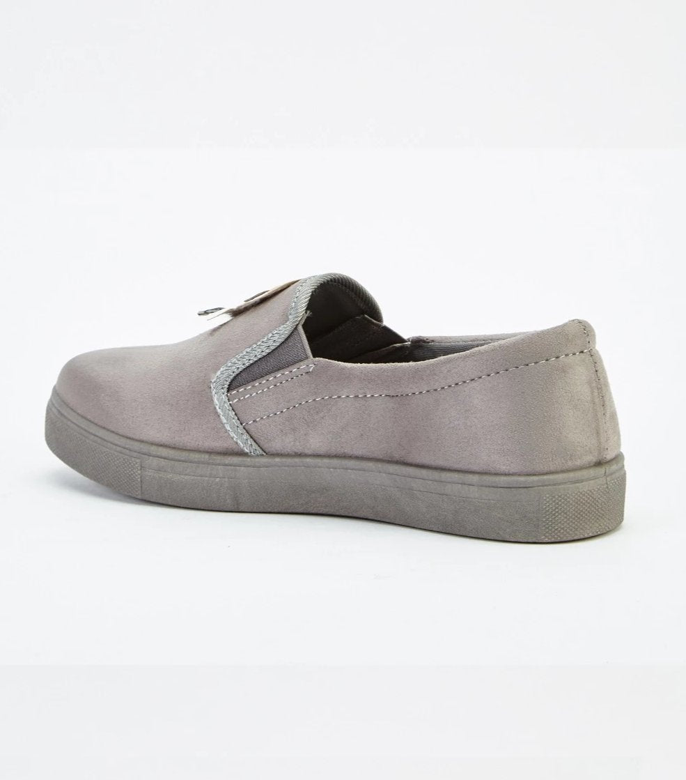 Abagail Applique Front Suedette Finish Slip On Shoes-Woven Trends