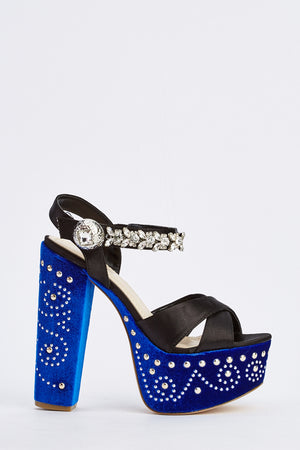 Amiah Diamante Enameled Contrast Crossed Strap Platform Block Heel Shoes-Woven Trends