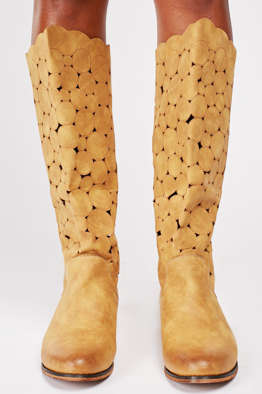 Gabby Laser Cut Out High Leg Boots