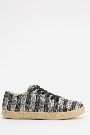Audrey Striped Metallic Effect Lace Up Espadrille Flat Shoes-Woven Trends