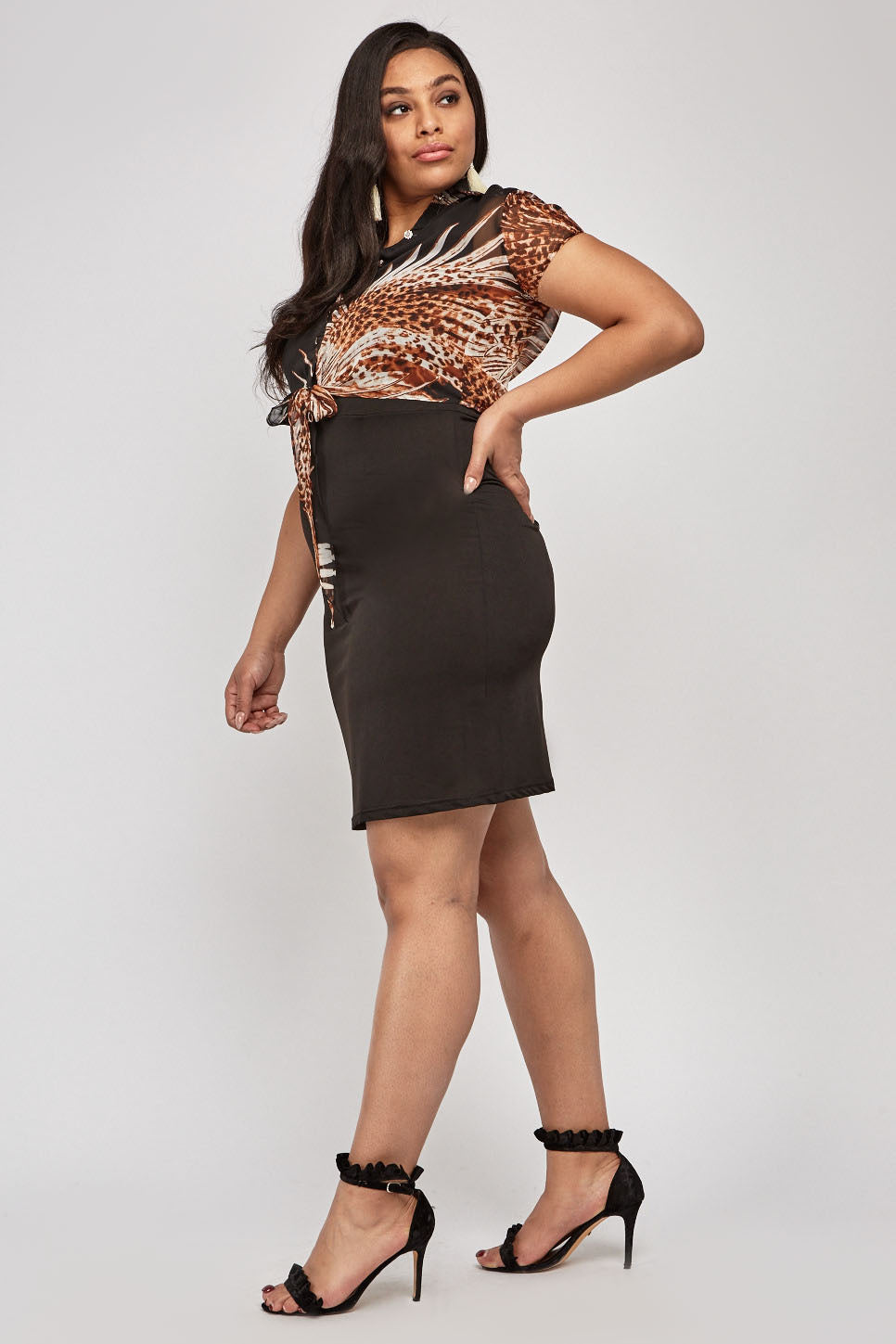 Marissa Printed Mix Bodycon Dress