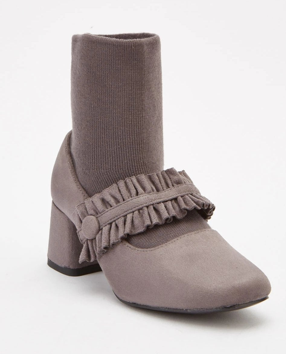 Alyssa Ruched Overlay Sock Insert Ankle Boots-Woven Trends