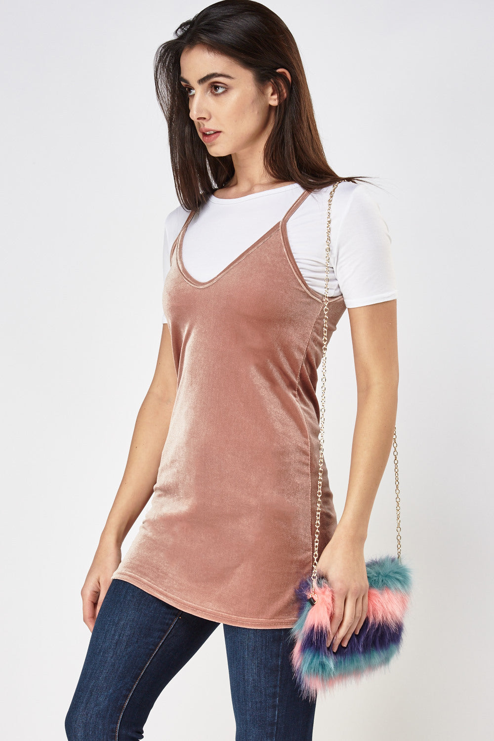 Two Layer Velve Feel Overlay Top - Woven Trends
