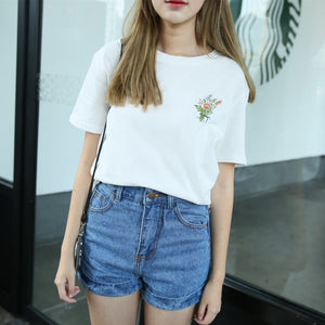 Francine Floral Embroidery T Shirt - woven-trends