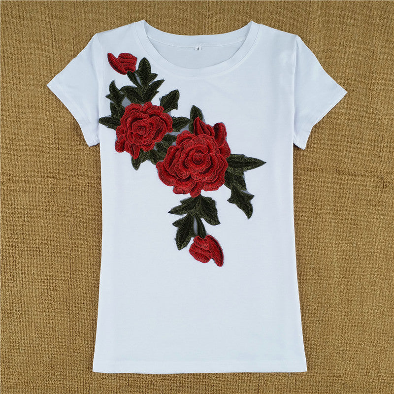 Estelle Floral Embroidery Casual T Shirt Woven Trends