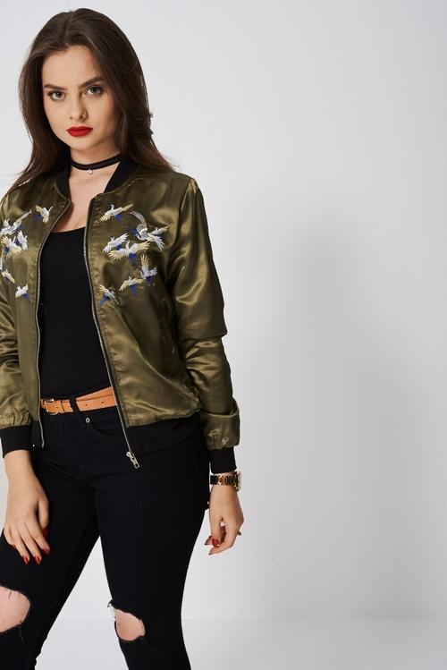 Light Bird Embroidery Bomber Jacket Coats & Jackets - Woven Trends Fashion Collection