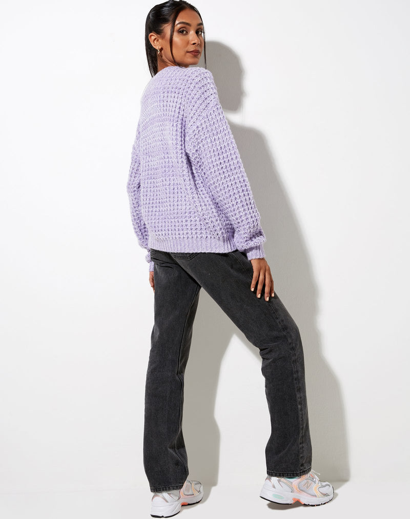 Abbie Chunky Knit Crew Neck Jumper in Lilac