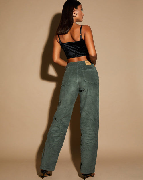 Akosua Jeans in Olive Corduroy