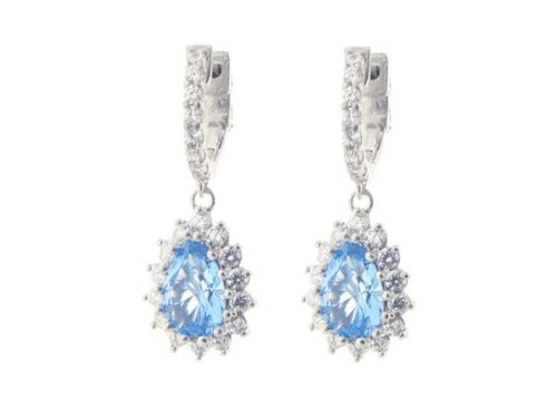 Sterling Silver Aqua Blue Cubic Stone Earrings - Fronay Collection Casual Chic Necklace