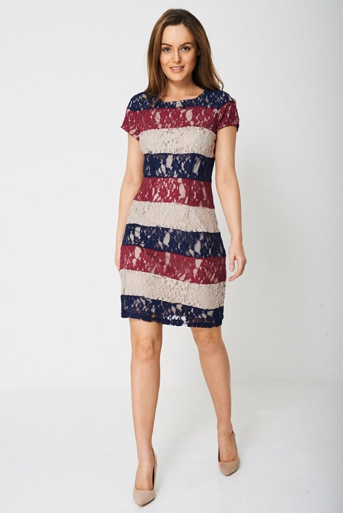Lace Detail Shift Dress Dresses - Woven Trends Fashion Collection