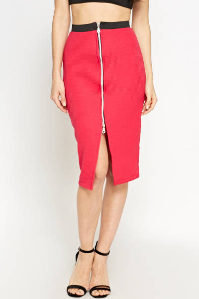 Hot Pink Fuchsia Zip Front Skirt - Bodycon Styled Skirt in Pink Woven Trends