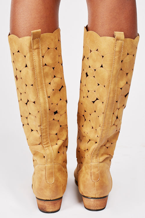 Gabby Laser Cut Out High Leg Boots-Woven Trends