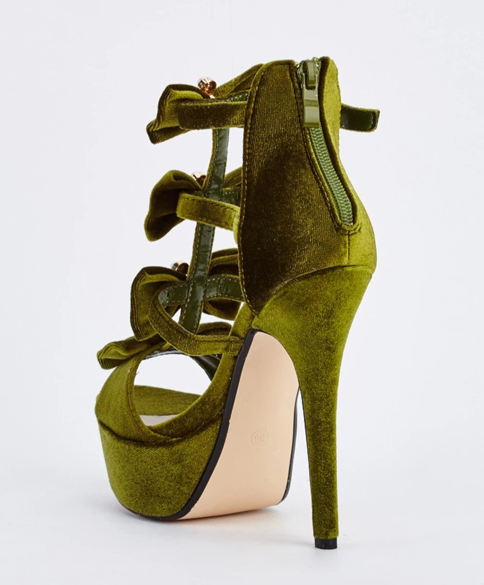 Zaniyah Trio Pearl Bow Detailed Velveteen Platform Heel Sandals-Woven Trends