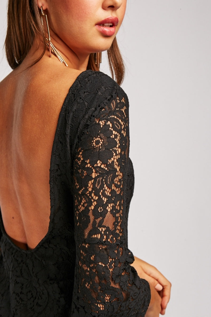 Amani Lace Overlay Mini Dress-Woven Trends