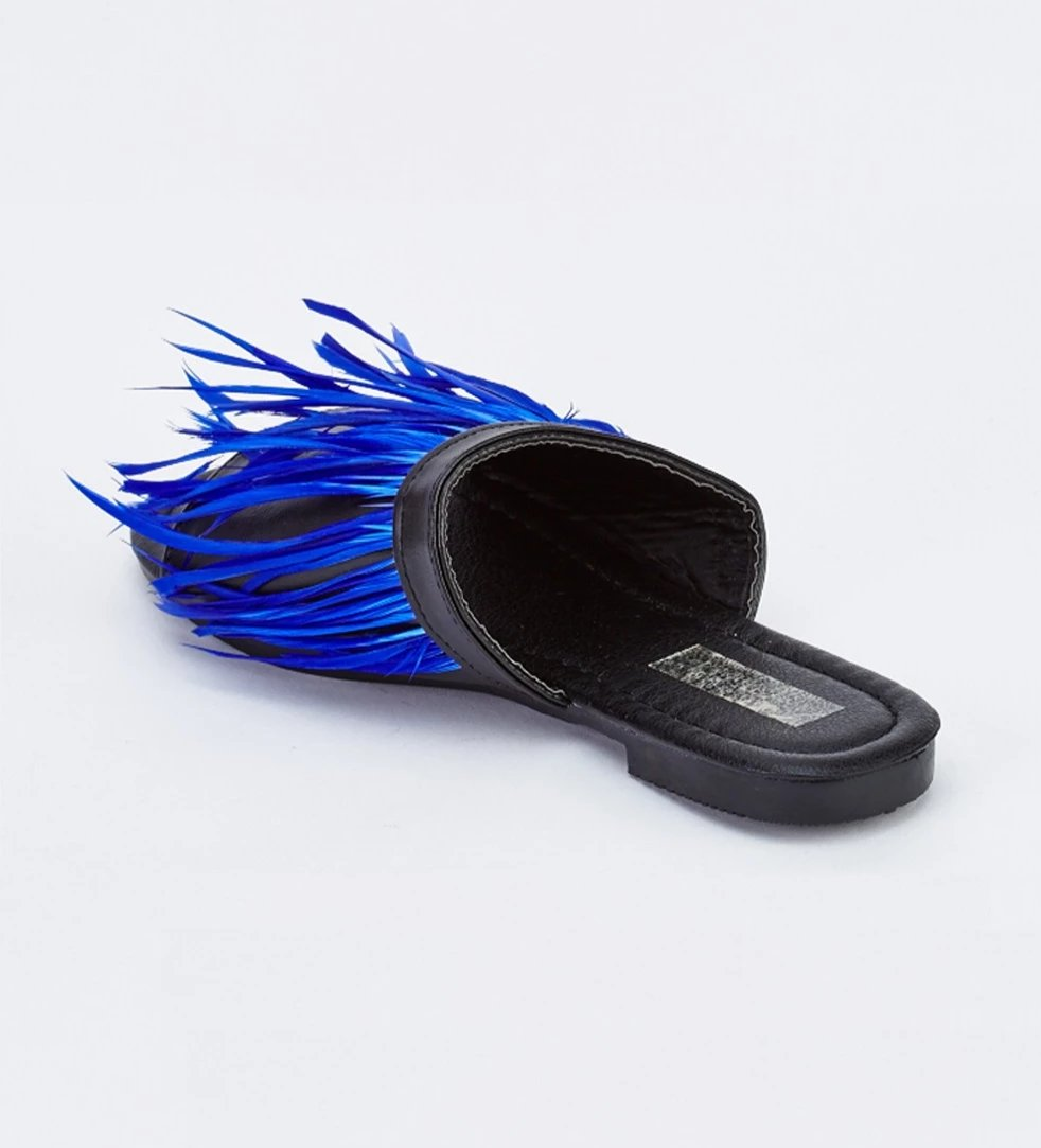 Renee Feather Tassel Trim Blue Contrast Slide Sandals-Woven Trends