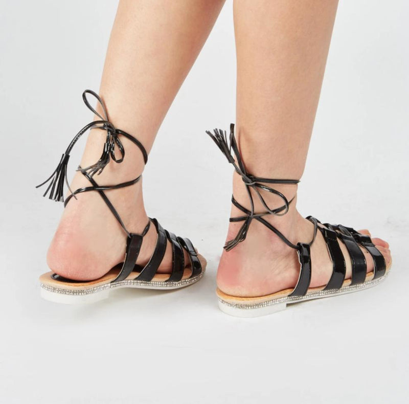 Kailey Cut Out Tie Up Strap Style Low Sandals-Woven Trends