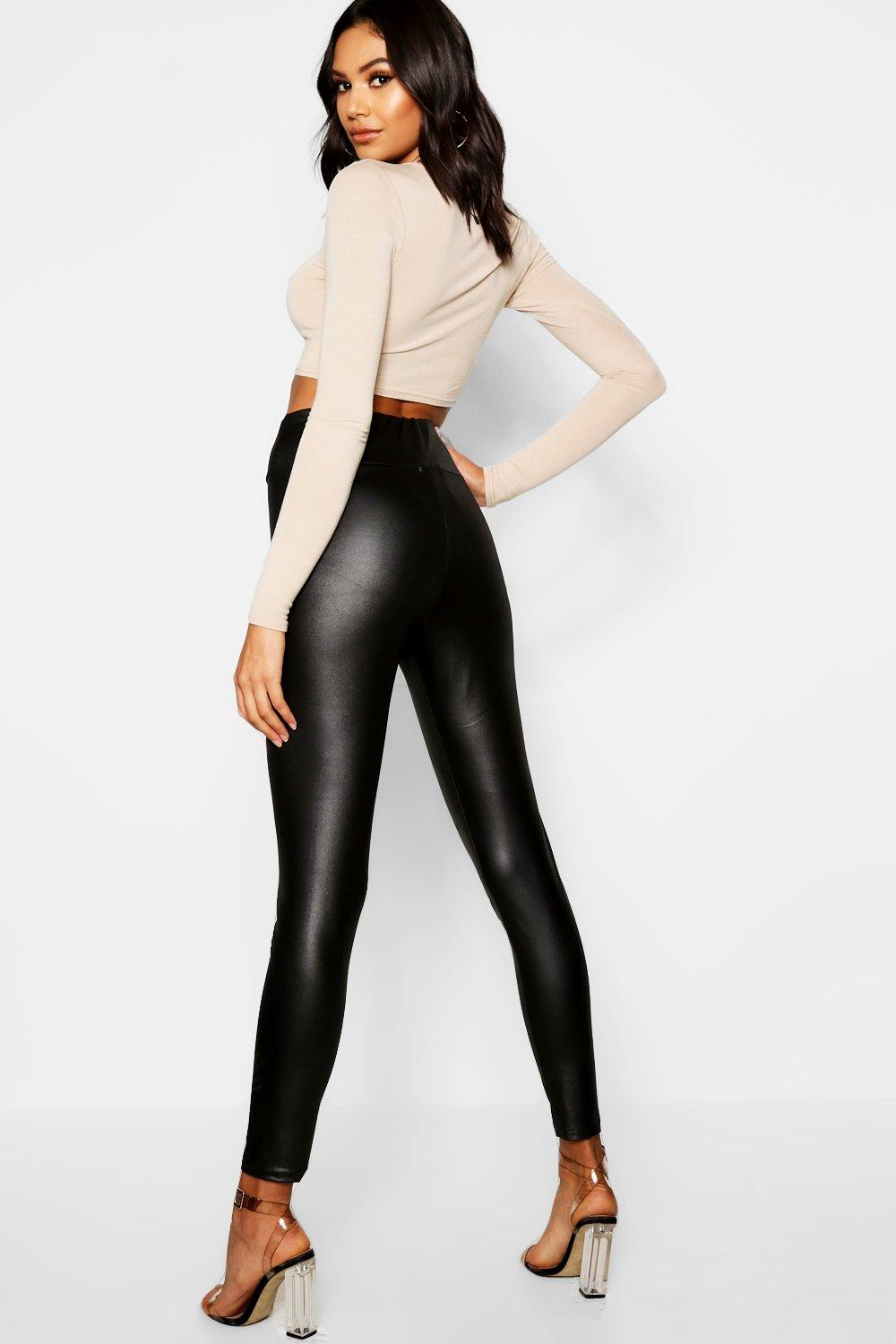 Jaylah High Waist Wet Look PU Leather Leggings - Woven Trends