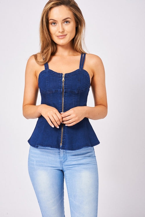 Navy Denim Top With Zip Front Tops - Woven Trends Fashion Collection