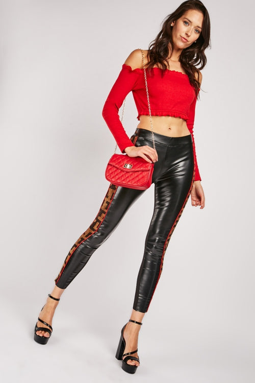 Saniyah Datex Faux Leather Look Leggings Trousers-Woven Trends