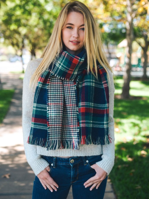 Plaid Knit Blanket Scarf In Navy & Green - woven-trends