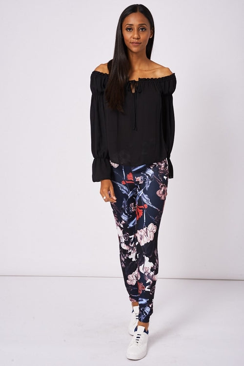 Floral Print Leggings Woven Trends