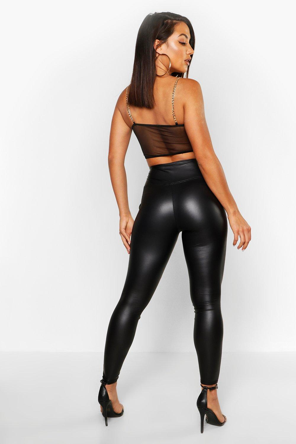 Roselyn High Waist Leather Stretch Leggings - Woven Trends