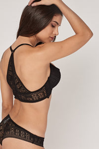 Gemma Laced Plunge Bra And Brief Sensual Lingerie Set - Woven Trends