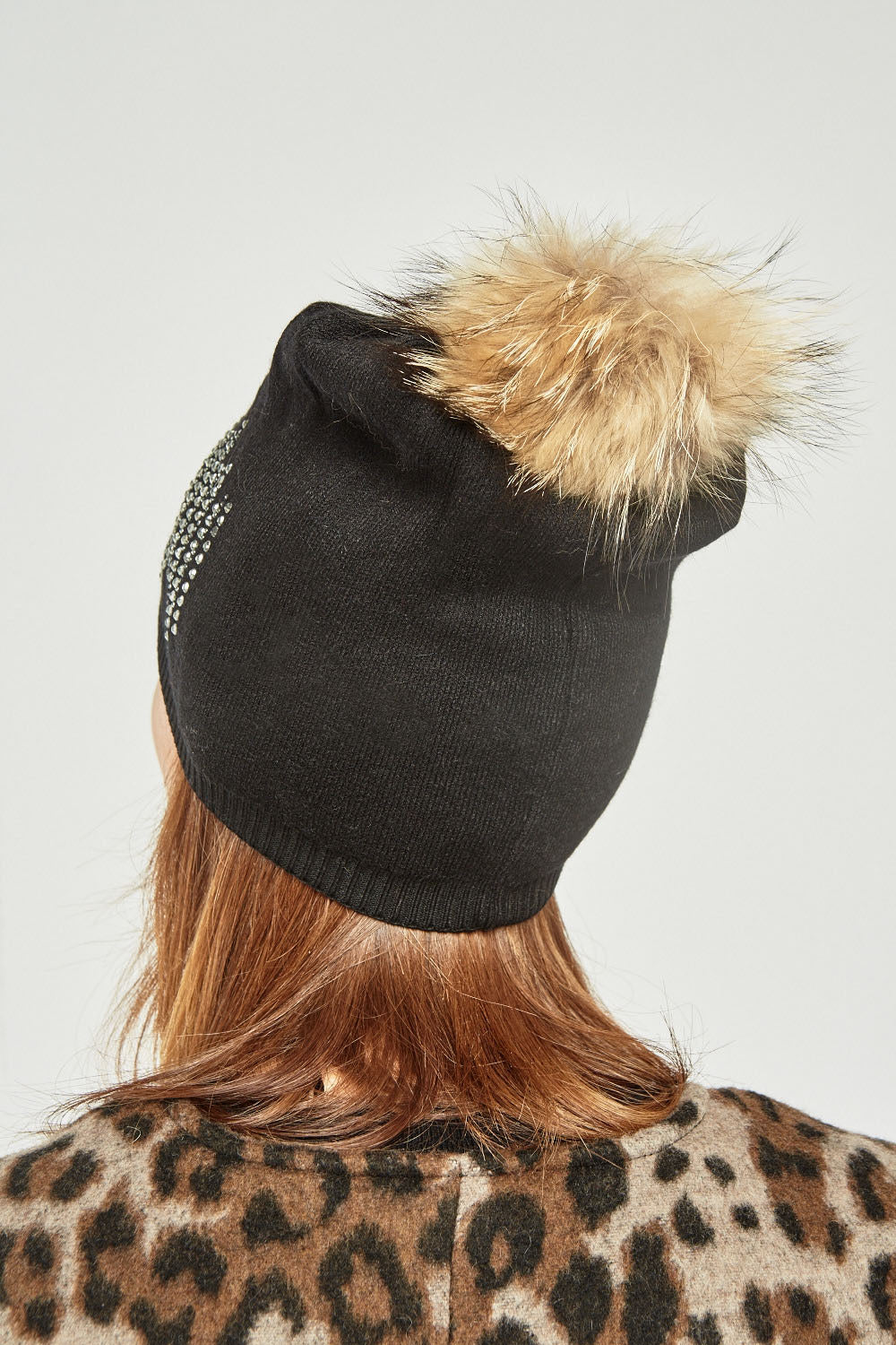 Daphne Real Fur Trim Acrylic Gem Embellished Ribbed Beanie Hat-Woven Trends