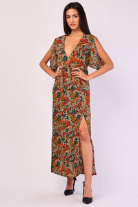 Tasha Slit Sleeves Floral Print Maxi Dress-Woven Trends