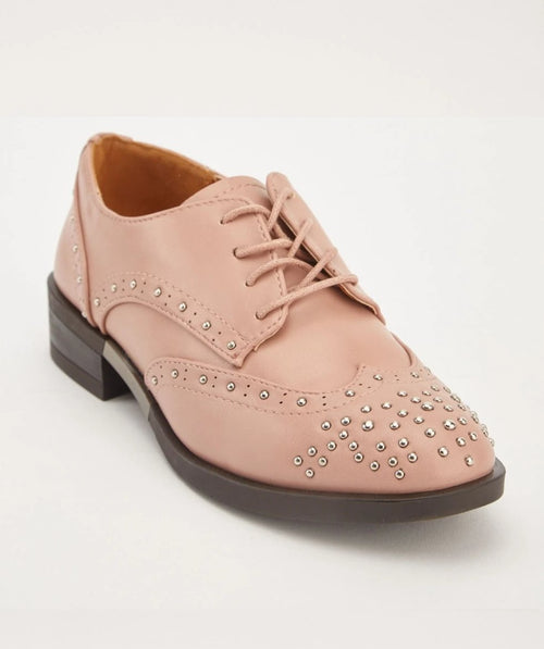 Alexis Stud Design Lace Up Brogue Shoes-Woven Trends