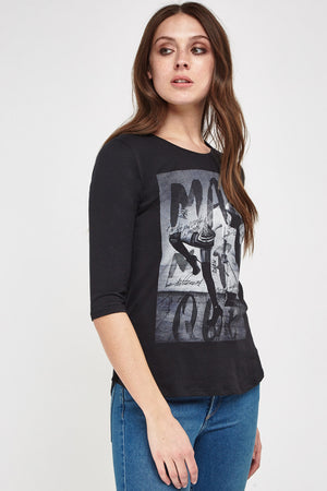 Charlee Casual Printed 3/4 Sleeve Tee Top-Woven Trends