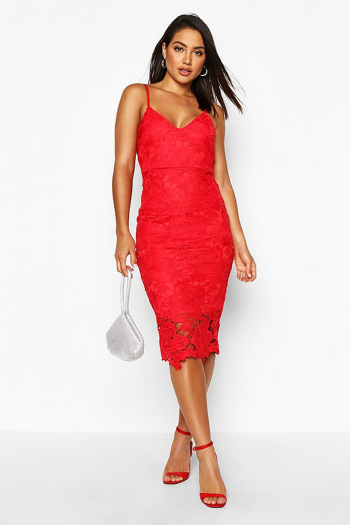 Kaylin Crochet Overlay Lace Strappy Midi Dress-Woven Trends