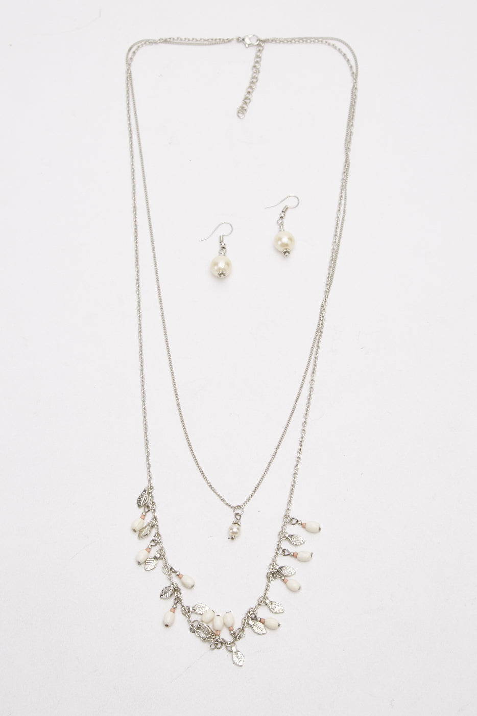 Kianna Layered Chain Necklace and Earrings Set-Woven Trends