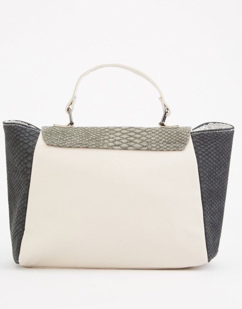 Greta Mock Croc Contrast Panel Large Handbag-Woven Trends
