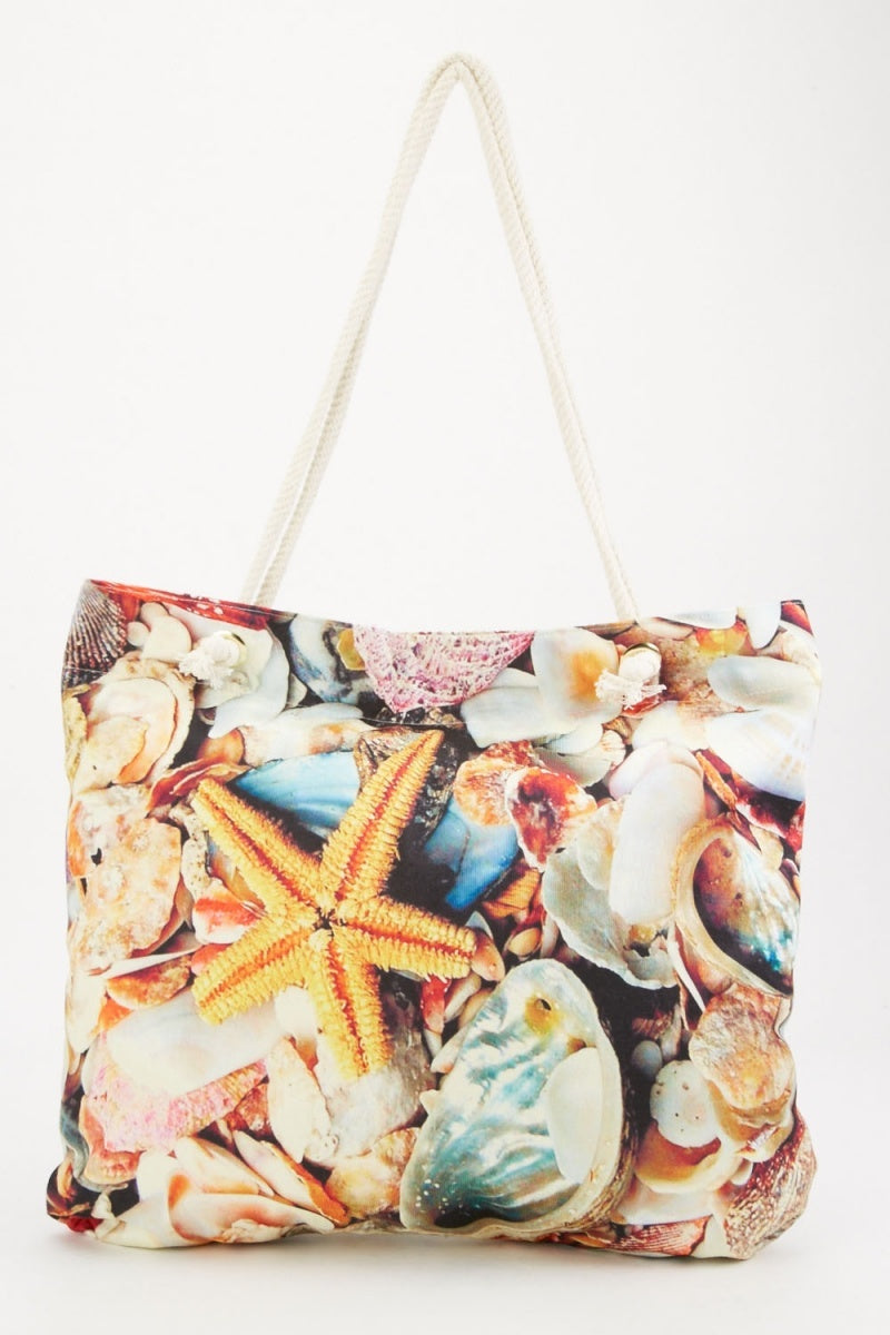 Charlotte Zipper Top Mixed Sea Effect Tote Shopper Bag