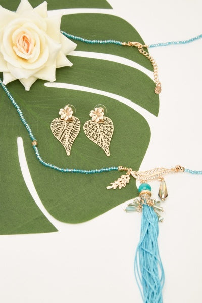 Janiyah Beaded Tassel Necklace and Earring Set-Woven Trends