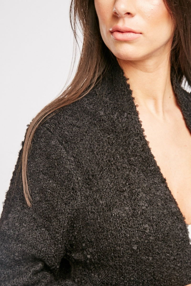 Denisse Textured Knit Plain Cardigan-Woven Trends