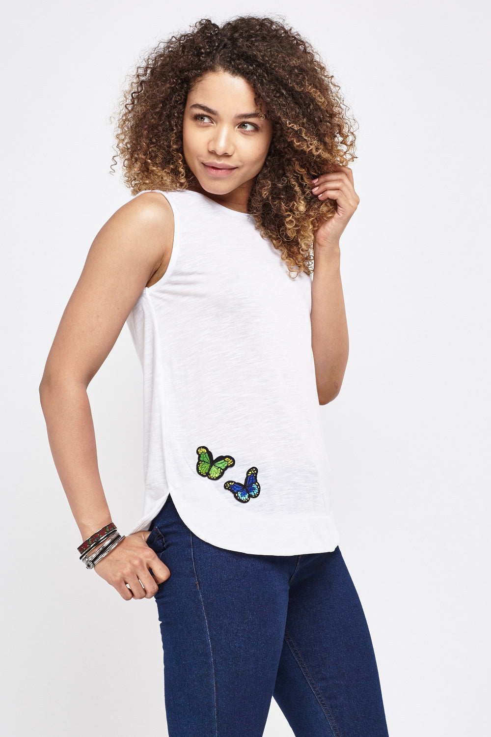 Francesca Butterfly Embroidery Applique Top - woven-trends
