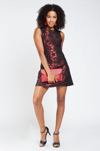 Betty Flowery Embroidered Contrast Dress - Woven Trends