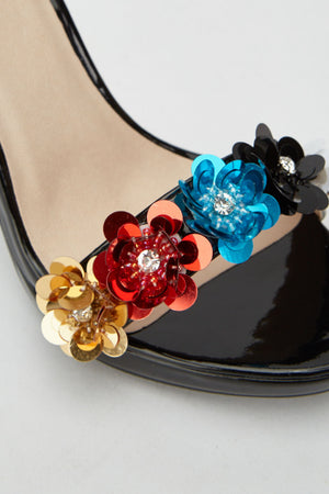 Flower Embellished Sequin Heel Sandals - Woven Trends