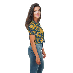 Edna Contrast Leafy All Over Print Crop Top - Woven Trends