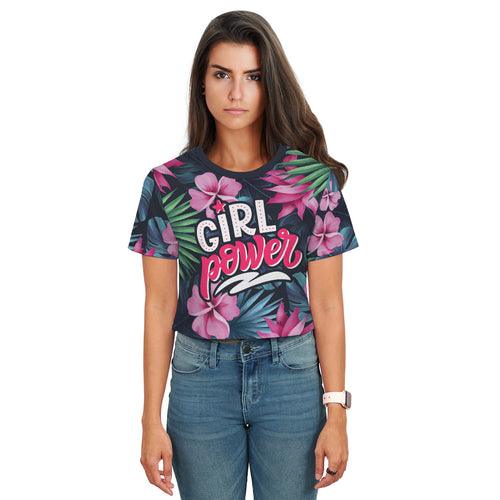 Tasha Bright Floral Girl Power Crop Top - Woven Trends