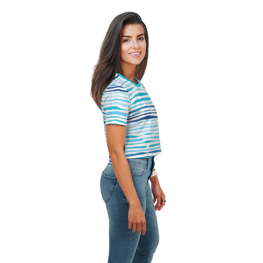 Dina Stripe All Over Print Crop Top - Woven Trends
